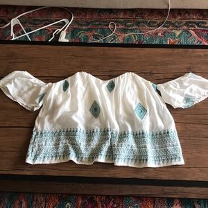 Off the shoulder crop top with turquoise detail